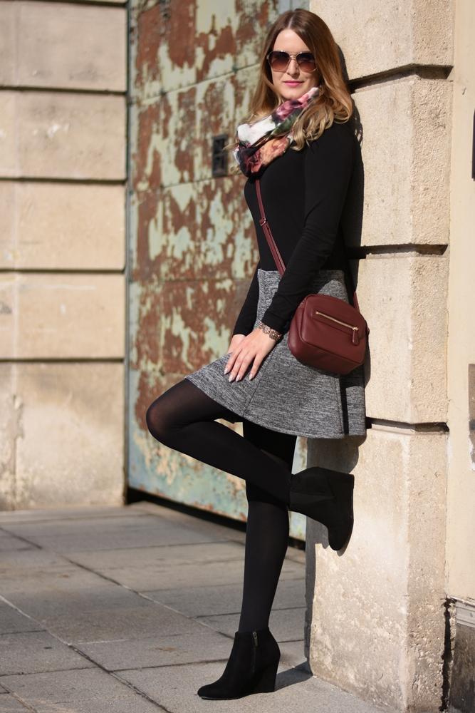 grey skirt ootd fashionladyloves. Black Bedroom Furniture Sets. Home Design Ideas