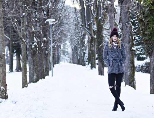 Shades of Grey Outfit - Winterjacke Grau - Rote Mütze - Fashionladyloves