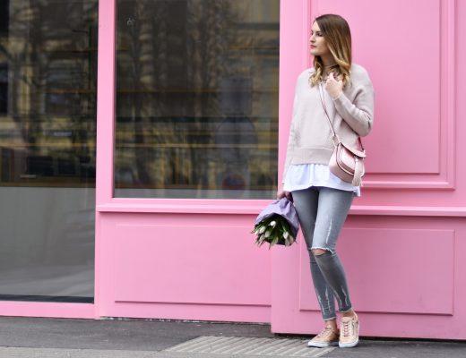 7 Girls 7 Styles - Frühlingsoutfit - Rosa Grau - Fashionladyloves