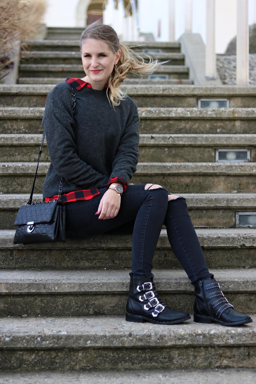 Modetrend Karo - Karohemd kombinieren - das Karo Hemd - Karo Trend Outfit - Street Style - Fashion - Style - Trends - Outfit Kombination - Mode Tipps - Karohemd, Pullover, Knee-Cut Jeans, Ellie Goulding Boots, Mango Tasche - Fashionladyloves by Tamara Wagner - Fashion Blog Mode Blog aus Graz Österreich
