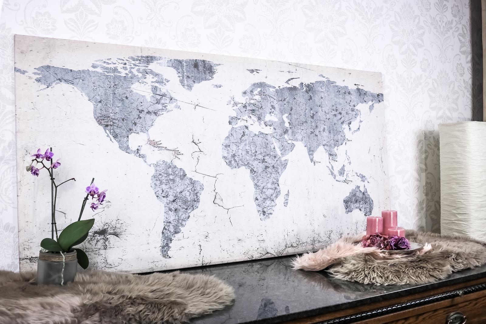 diy reisekarte weltkarte zum aufh ngen und kennzeichnen fashionladyloves. Black Bedroom Furniture Sets. Home Design Ideas